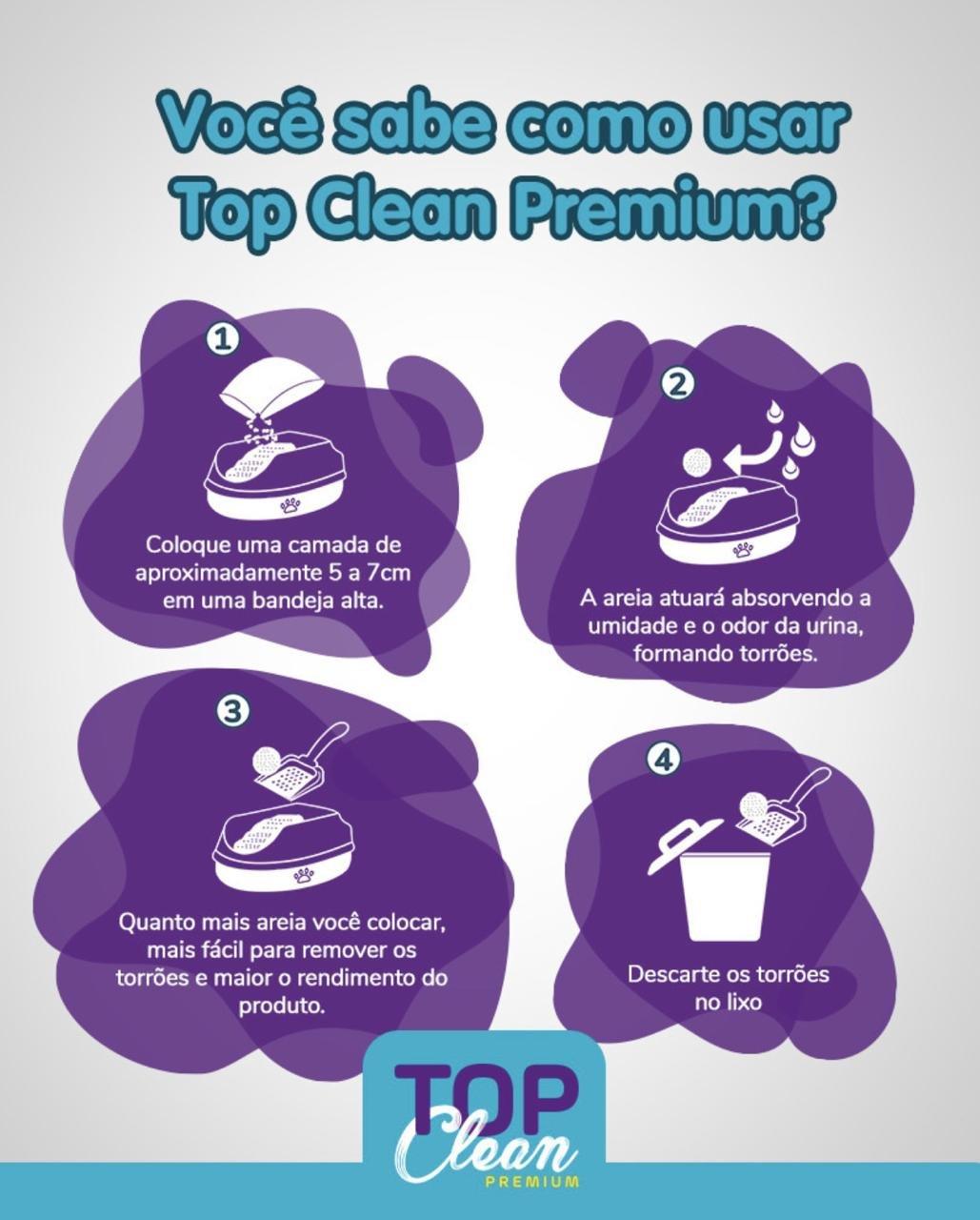 Areia Higiênica Bentonita Top Clean Premium Classic 4Kg