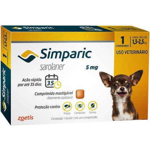 Antipulgas Simparic 5mg para Cães de 1,3 a 2,5kg