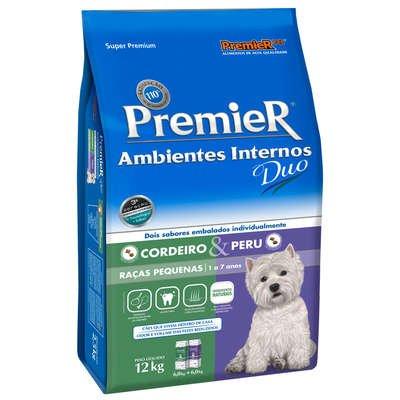 Ração Premier Ambientes Internos Duo para Cães Adultos Raças Pequenas Sabor Cordeiro e Peru 2,5Kg