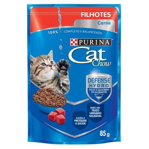 Sachê Cat Chow para Gatos Filhotes Sabor Carne ao Molho 85g