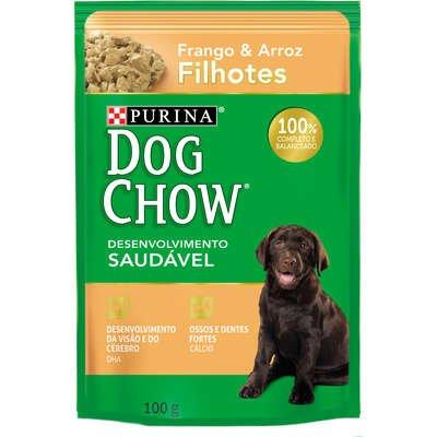 Sachê Dog Chow para Cães Filhotes Raças Pequenas Sabor Frango e Arroz 100g