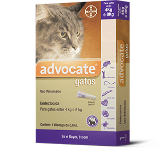 ANTIPULGAS E CARRAPATOS ADVOCATE PARA GATOS 0,8 ML 4KG A 8KG