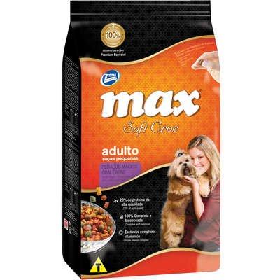 Ração Max Soft Croc para Cães Adultos Raças Pequenas Sabor Pedaços Macios com Carne 20Kg