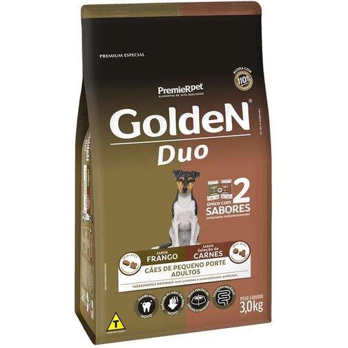 Ração Golden Duo para Cães Adultos Raças Pequenas Sabor Carne e Frango 3Kg
