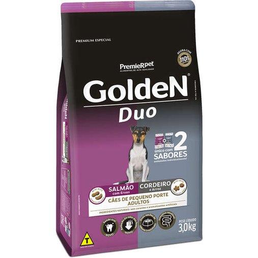 Ração Golden Duo para Cães Adultos Raças Pequenas Sabor Salmão e Cordeiro 3Kg