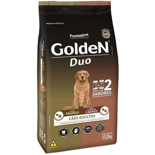 Ração Golden Duo para Cães Adultos Sabor Carne e Frango 15Kg
