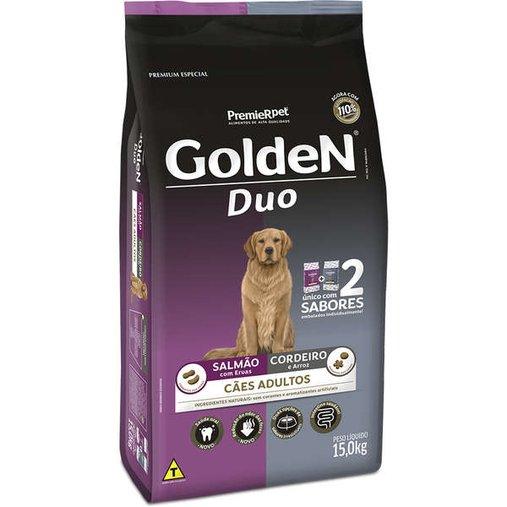 Ração Golden Duo para Cães Adultos Sabor Salmão e Cordeiro 15Kg