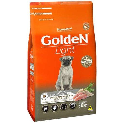 Ração Golden Light para Cães Adultos Raças Pequenas Sabor Frango e Arroz 3Kg