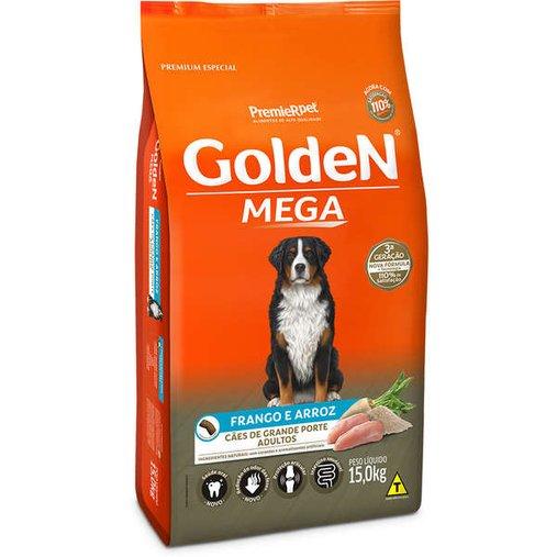 Ração Golden Mega para Cães Adultos Raças Grandes Sabor Frango e Arroz 15Kg