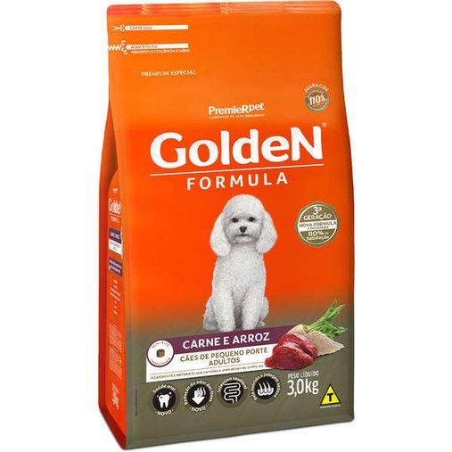 Ração Golden para Cães Adultos Raças Pequenas Sabor Carne e Arroz 3Kg