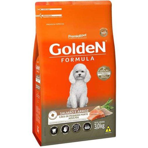 Ração Golden para Cães Adultos Raças Pequenas Sabor Salmão e Arroz 3Kg