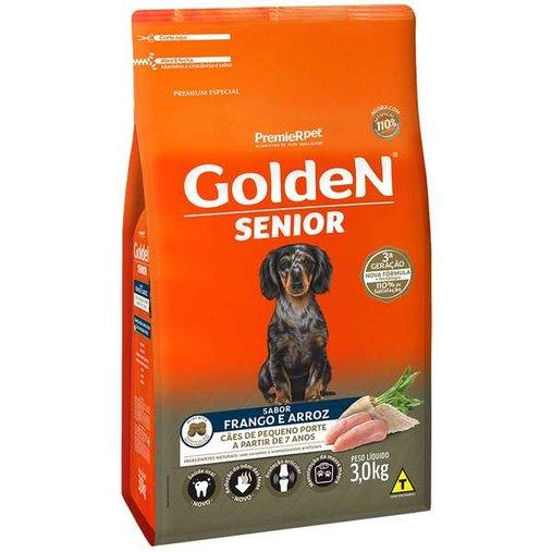 Ração Golden para Cães Adultos Sênior Raças Pequenas Sabor Frango e Arroz 3Kg