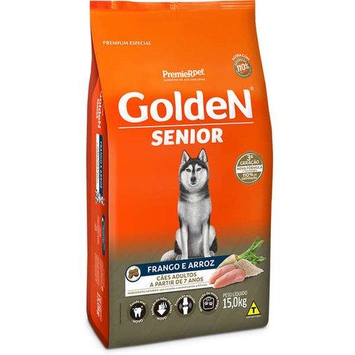 Ração Golden para Cães Adultos Sênior Sabor Frango e Arroz 15Kg
