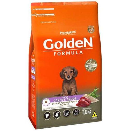 Ração Golden para Cães Filhotes Raças Pequenas Sabor Carne e Arroz 3Kg