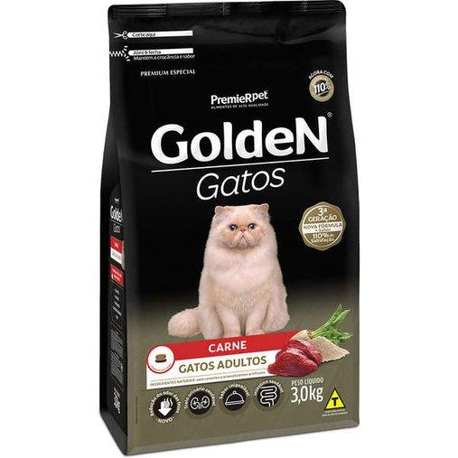 Ração Golden para Gatos Adultos Sabor Carne 3Kg
