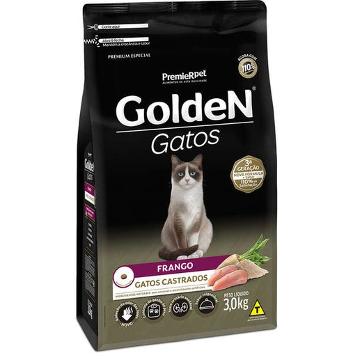 Ração Golden para Gatos Castrados Sabor Frango 3Kg