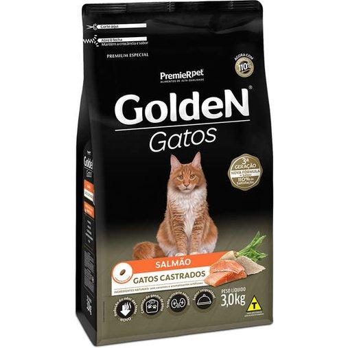 Ração Golden para Gatos Castrados Sabor Salmão 3Kg