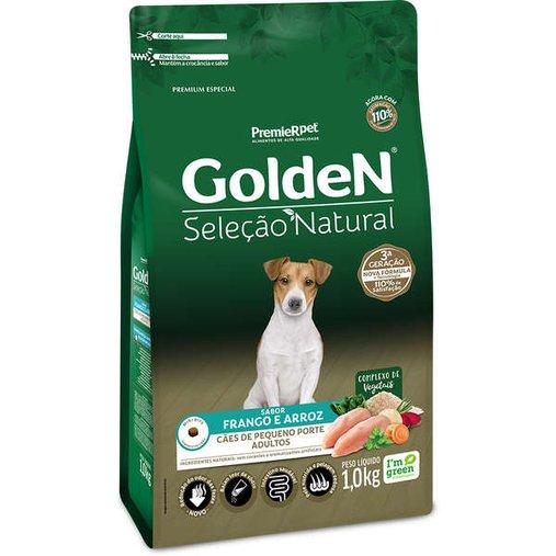 Ração Golden Seleção Natural para Cães Adultos Raças Pequenas Sabor Frango e Arroz 1Kg