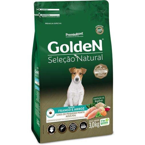 Ração Golden Seleção Natural para Cães Adultos Raças Pequenas Sabor Frango e Arroz 3Kg