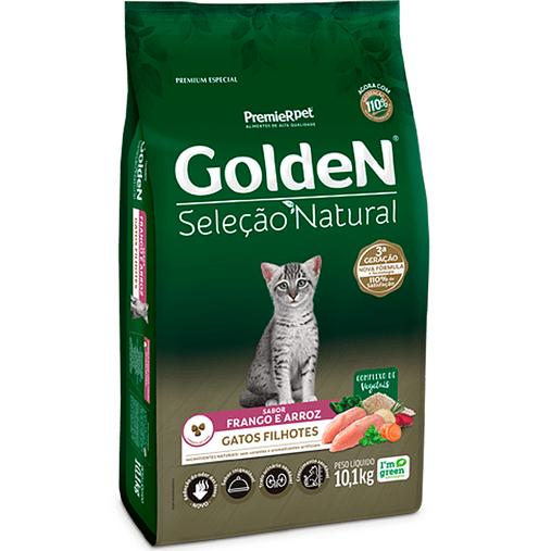 Ração Golden Seleção Natural para Gatos Filhotes Sabor Frango e Arroz 10,1Kg