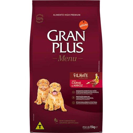 Ração Gran Plus Menu para Cães Filhotes Sabor Carne e Arroz 15Kg