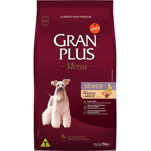Ração Gran Plus Menu para Cães Senior Sabor Frango e Arroz 15Kg