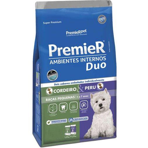 Ração Premier Ambientes Internos Duo para Cães Adultos Raças Pequenas Sabor Cordeiro e Peru 12Kg