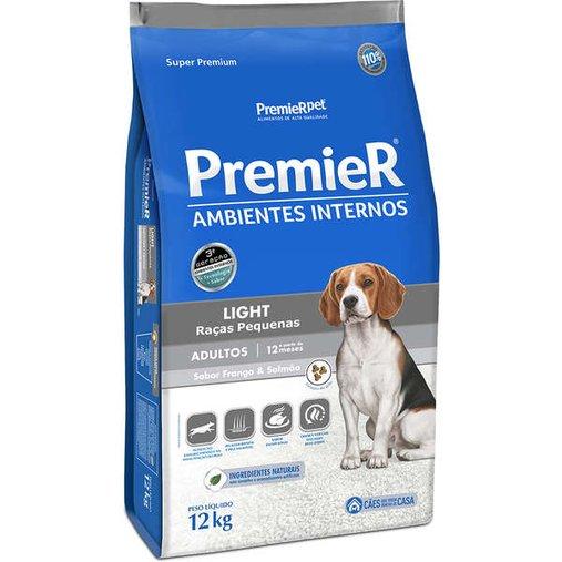 Ração Premier Ambientes Internos Light para Cães Adultos Raças Pequenas Sabor Frango e Salmão 12Kg