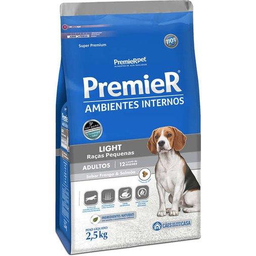 Ração Premier Ambientes Internos Light para Cães Adultos Raças Pequenas Sabor Frango e Salmão 2,5Kg