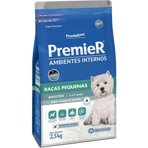 Ração Premier Ambientes Internos para Cães Adultos Raças Pequenas Sabor Frango e Salmão 2,5Kg