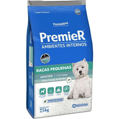 Ração Premier Ambientes Internos para Cães Adultos Raças Pequenas Sabor Frango e Salmão 7,5Kg