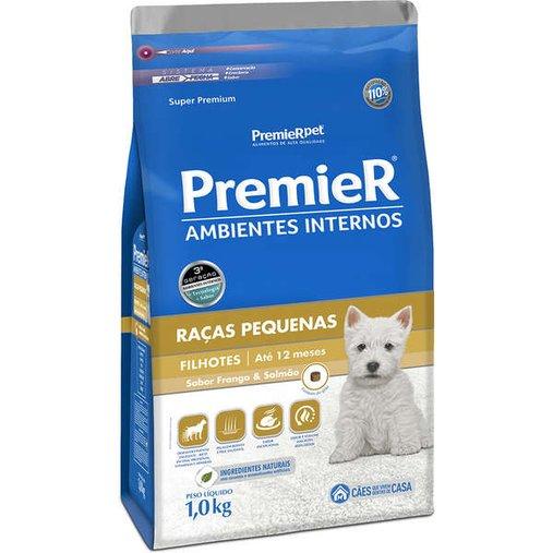 Ração Premier Ambientes Internos para Cães Filhotes Raças Pequenas Sabor Frango e Salmão 1Kg