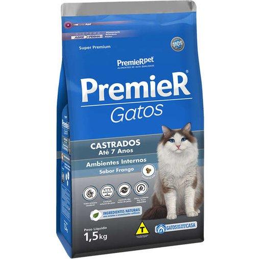 Ração Premier Ambientes Internos para Gatos Castrados até 7 anos Sabor Frango 1,5Kg