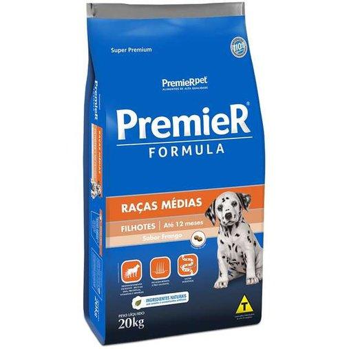 Ração Premier Fórmula para Cães Filhotes Raças Médias Sabor Frango 20Kg